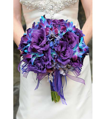 Purple And Blue Orchid Bridal Bouqet View Larger