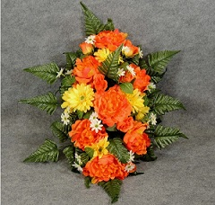 Orange Silk Cemetery Monument Arrangement in Perrysburg & Toledo OH  OH, Ken's Flower Shops