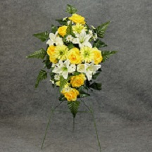 Yellow Silk Cemetery Monument Arrangement in Perrysburg & Toledo OH  OH, Ken's Flower Shops