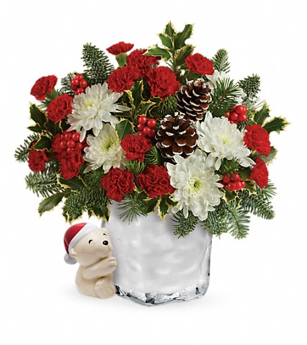 Send a Hug Bear Buddy Bouquet by Teleflora in Hastings NE, Bob Sass Flowers, Inc.