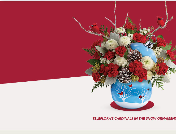 Telefloras Cardinals In The Snow Ornament